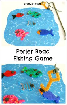 Perler Bead Fishing Game - a fun homemade toy for kids to make! : Perler Bead Fishing Game - a fun homemade toy for kids to make! This Perler Bead Fishing Game is a fun craft to make with kids that becomes an entertaining homemade toy! Easy Crafts To Sell, Fun Crafts, Crafts For Kids, Mason Jar Crafts, Mason Jar Diy, Toys For Boys, Kids Toys, Budget Crafts, Homemade Toys