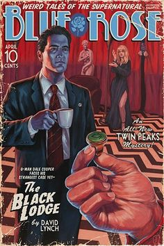 The Black Lodge painting Vintage Pulp Edition print by Stephen Andrade Spoke Art NYC 2017 David Lynch In Dreams Twin Peaks Dale Cooper Laura Palmer red room owl ring