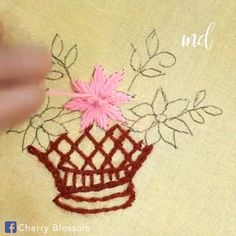 Enjoy a satisfying tutorial on how to embroider a flower basket! Enjoy a satisfying tutorial on how to embroider a flower basket! Basic Embroidery Stitches, Hand Embroidery Videos, Hand Embroidery Flowers, Embroidery Stitches Tutorial, Creative Embroidery, Learn Embroidery, Silk Ribbon Embroidery, Embroidery Hoop Art, Hand Embroidery Patterns