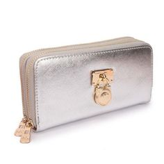 #fashion Buy The Lowest Price Michael Kors Hamilton Continental Lock Large Silver Wallets In Our Online Store !