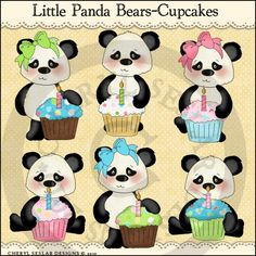 Little Panda Bears Cupcakes 1 - Clip Art by Cheryl Seslar : Digi Web Studio, Clip Art, Printable Crafts & Digital Scrapbooking!