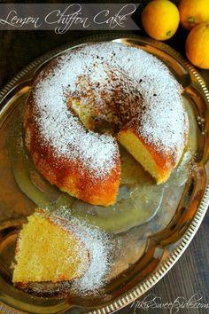 This looks really yummy - Lemon Chiffon Cake by Niki's Sweet Side Lemon Recipes, Baking Recipes, Cake Recipes, Dessert Recipes, Brunch Recipes, Fun Desserts, Delicious Desserts, Yummy Food, Lemon Chiffon Cake