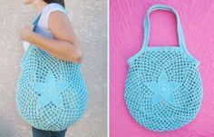 Complementos de ganchillo: fotos accesorios playa - Original bolsa en turquesa
