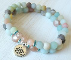Anti Anxiety, Yoga bracelet set, stacking malas with Amazonite and Moonstone