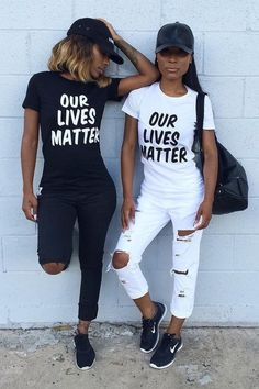 T-shirt: black lives matter black quote on it white jeans white jeans black jeans ripped jeans black