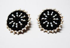 Black & White Seed Bead Earrings  Clip on by thejewelseeker