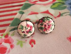 Fabric button earrings button ear studs retro ear by RetroNaNa, $6.00