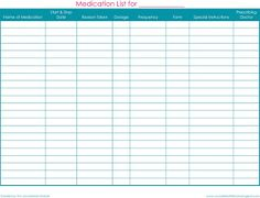 Free printable medication list