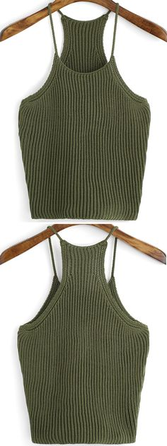 Army Green Spaghetti Strap Knit Cami Top.For young girls, it will be so hot with this crop top for your roof party.
