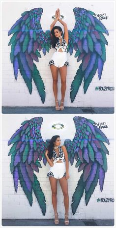 This romper couldn't fit your figure more perfectly. It made from high-quality fabric with deep v neck, sleeveless, tie front, embroidered pattern and back zipper closure. Wings Drawing, Wall Drawing, Graffiti Wall Art, Mural Wall Art, Murals Street Art, Street Art Graffiti, Angel Wings Art, Chalk Art, Art Drawings Sketches