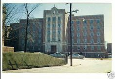 Mercy Hospital in Bay City, Michigan 1963 postcard. The Hospital closed and the building was converted to a Senior Living Apartment Complex and renamed as The Bradley House. Senior Living Apartments, Bradley House, Bay City Michigan, Old Hospital, Apartment Complexes, Skyscraper, Loft Kitchen, Memories, Vacation