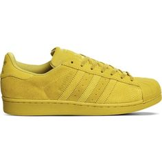 ADIDAS Superstar 1 suede trainers ($105) ❤ liked on Polyvore featuring shoes, sneakers, yellow mono, yellow suede shoes, lace up shoes, lacing sneakers, round toe shoes and round toe sneakers