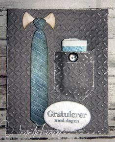 Card by DT member Wenche with Craftables Gentleman's Tie by Marianne Design Diy Cards, Handmade Cards, Fathers Day Cards, Marianne Design, Masculine Cards, Men's Collection, Project Life, Mittens, Create Yourself