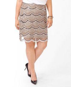 Sequined Scalloped Skirt | FOREVER21 PLUS