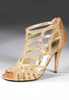 Shoes - High Heel Zipper Back Glitter Sandal from Camille La Vie and Group USA prom