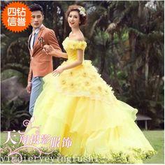 2017 show new yellow wedding photo studio theme clothing couple photo photography genuine photo dress summer section