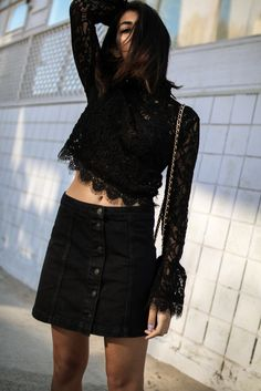 storm wears zara lace blouse with UNjean black jeans skirt theadorabletwo