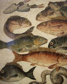 Roman Fish mosaic, British Museum, London, UK