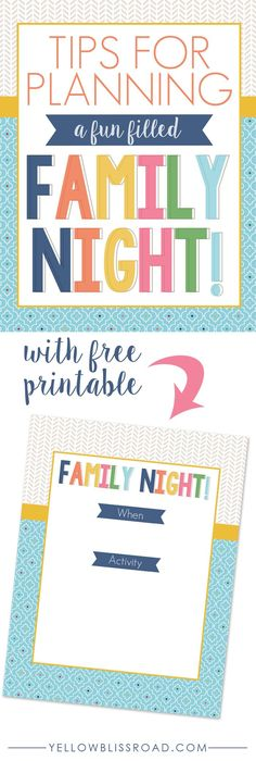 Tips for Planning a Fun Filled Family Night with Free Printable family fun activities Family Movie Night, Family Day, Family Life, Family Games, Family Activities, Bonding Activities, Therapy Activities, Family Home Evening, Family Bonding