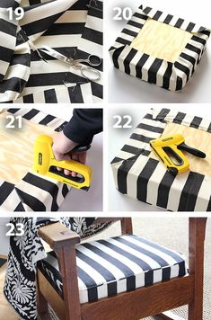 Tutorial to sew a cushion cover for a chair or bench (inside or outside). Furniture Projects, Furniture Makeover, Diy Furniture, Diy Cushion Covers, Cushion Cover Pattern, Pillow Covers, Chair Cushions, Foam For Cushions, Owl Pillows
