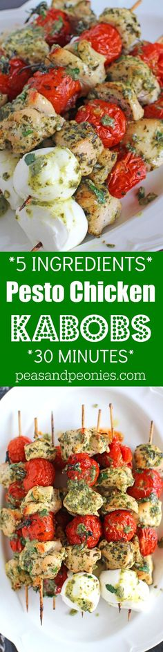 5 Ingredients only, Pesto Chicken Kabobs can be easily made in 30 minutes in your oven or grill for a delicious and healthy dinner.