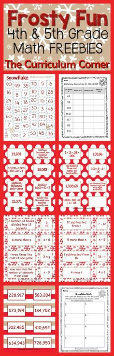 Frosty Fun Math Centers for 4th & 5th Grades | Winter Themed FREE from The Curriculum Corner | Place Value, Computation, Expressions & more