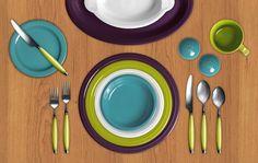 Fiesta color combination: Plum, Lemongrass, White, Turquoise.