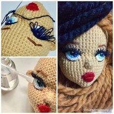 Selamlar💕Öncelikle bu tarz kirpiklerin oyuncaklarda değil de dekoratif ve k… Greetings – First of all, this kind of eyelashes will be used in decorative and personal doll works rather than toys daha Crochet Doll Pattern, Crochet Patterns Amigurumi, Amigurumi Doll, Crochet Eyes, Love Crochet, Crochet Baby, Knitted Dolls, Crochet Dolls, Knitting Projects