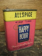Old Vintage `Happy Hour' Allspice Spice Tin  Paper Label Advertising