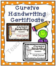 Cursive Handwriting Certificate from A Teacher in Paradise on TeachersNotebook.com -  (2 pages)  - Reward your students� handwriting skills with these handwriting awards.  Enclosed you will find 2 full page certificates in both color and black and white.