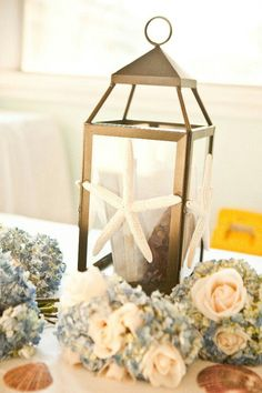 Beach wedding Lantern card holder with starfish