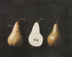 """""""Pear Halves""""- Three Bosc pear halves on dark background. Fine Art Print. Professionally printed upon order. My photographs are professionally printed with archival inks on premium acid-free paper, wh"""