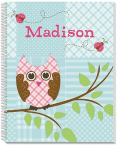 Personalized Quilted Owls Sketchbook for Kids and by Frecklebox