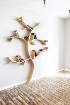 Break the mold with a tree-shaped shelf for your books. #etsyfinds