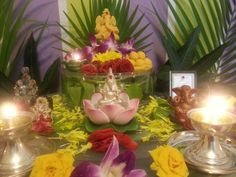 Ganesh Chaturthi - 2016 Mandir Decoration, Festival Decorations, Table Decorations, Ocean Projects, Ganesh Images, Shri Ganesh, Vedic Astrology, Pooja Rooms, God Pictures