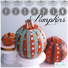 DIY Pushpin Pumpkins via Flairy Tales! #diy #crafts #autumn #fall #pumpkin #pushpins #howto #halloween Halloween Pumpkins, Fall Halloween, Halloween Crafts, Autumn Theme, Autumn Fall, Happy Columbus Day, Decorating Pumpkins, Pumpkin Patch Party, Pumpkin Uses