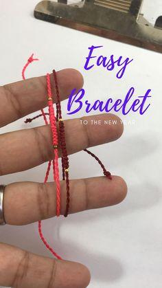 Easy And fast Macrame bracelet Diy Bracelets Video, Diy Bracelets With String, Diy Friendship Bracelets Patterns, String Friendship Bracelets, Diy Crafts Jewelry, Diy Crafts For Gifts, Bracelet Crafts, Diy Macrame Earrings, Macrame Bracelets