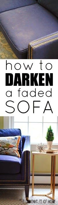 How to dye, darken, and generally freshen an old, faded sofa - from The Chronicles of Home