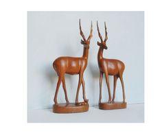 Two Vintage Antelope Gazelle Teak Carved by VelvetCrocodileShop