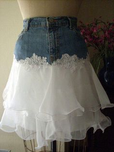 Bohemian jean skirt gorgeous ecru lace tiered ruffled frou frou Renaissance Denim Couture bohemian fairy goddess Made to Order Mode Hippie, Denim Ideas, Denim Crafts, Creation Couture, Denim And Lace, Refashioning, Recycled Denim, Diy Clothing, Sewing Clothes
