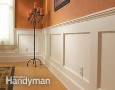 How to Build a Wainscoted Wall-this will be in the dinning room and running down the hallway wall.