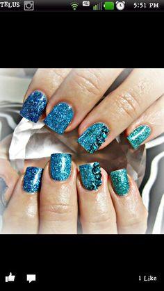 Blue on blue acrylic nails with swarovski crystals