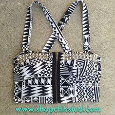Studded Bustier Crop Top Tank Top - Black White Tribal Print - Bronze Gold Zipper - Silver Black or Gold Studs-