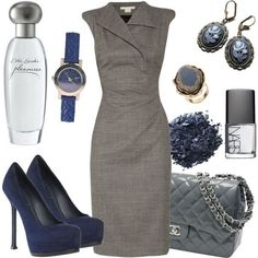 Navy shoes with knee length gray dress - women's business casual wear, add blazer for business wear