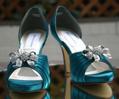 FOR THE BRIDESMAIDS!!!     Custom Wedding Shoes -- Oasis Blue Peeptoes with Rhinestone Bow Adornment