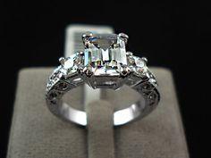 Perfect 3CT Emerald Cut Russian Lab Diamond 18K White Gold Engagement Anniversary Wedding Ring