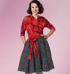 Butterick 6285 Need to buy. Blue top with oversized bow on hip, white pencil skirt, white bolero.