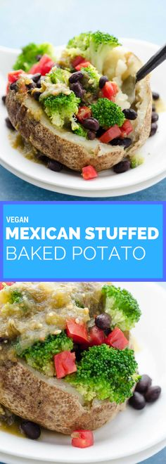 This Mexican stuffed baked potato is my go-to lunch. I just stuff a baked potato with broccoli, black beans, chopped tomato, and salsa verde. A vegan Mexican recipe.
