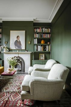 room decor 2019 Laura Jackson talks to Pandora Sykes about decorating a first home Dark green walls in the sitting room, a grand marble fireplace and reupholstered comfy armchairs Living Room Green, My Living Room, Living Room Interior, Home And Living, Modern Living, Cozy Living, Living Room With Color, Armchair Living Room, Living Room With Bookshelves