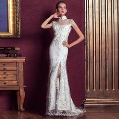Hand Made CheongsamLace wedding dress White Empire by nobuynoshare